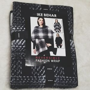 IKE BEHAR Reversible Wrap Black Gray wrap NEW